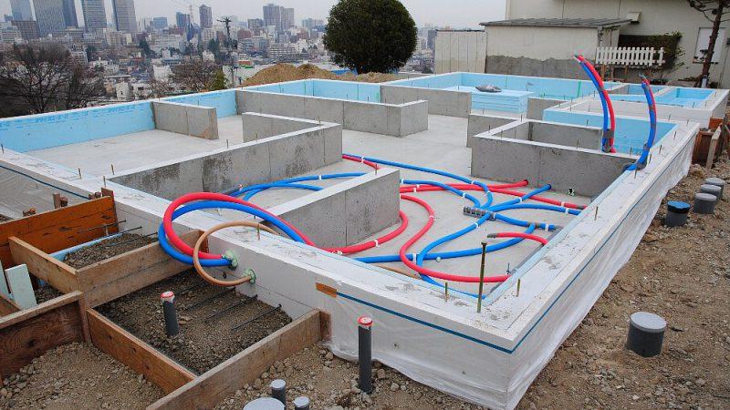 [家づくりblog]仙台の街が見える家 基礎から設備工事へ