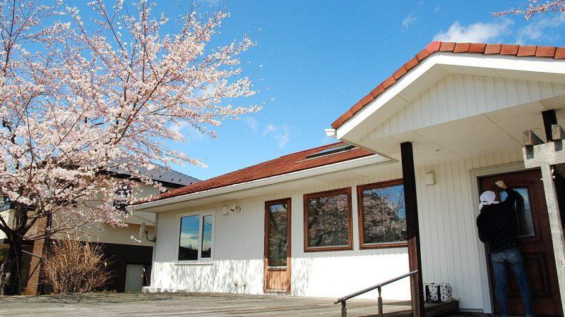 夜桜を楽しむ平屋の家、の大掃除